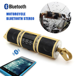 Wholesale Waterproof Speakers For Motorcycles - 10PCS Lot Multi-functional Motorcycle Bluetooth Stereo Speakers Audio Radio Sound System Waterproof USB Wireless For Phone