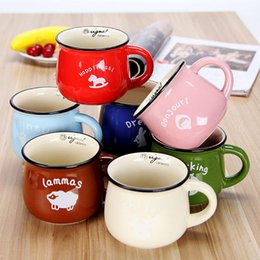 Wholesale White Ceramic Mugs Wholesale - 7 Colors Coffee Mug 150ml Korea creative ceramic mugs Milk mug zakka Tatu couple coffee mugs with handgrip