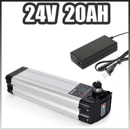 Wholesale 24v Electric Bikes Battery - Powerful silver fish case 24v 20ah e-bike battery 24 volt lithium battery pack with charger 24v 500w electric bicycle battery