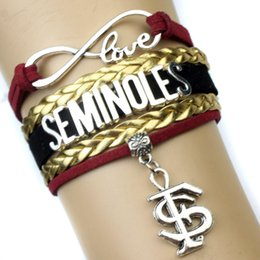 Wholesale Custom Gold Bracelets - (10 Pieces Lot) Infinity Love Florida State Seminoles Wrap Bracelet Garnet Gold White Custom Any Bracelets - Drop Shipping
