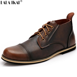 Wholesale Combat Boots For Men - Wholesale-Full Grain Leather Boots For Men Lace Up Low Heels Men Genuine Leather Boots Vintage Sewing Thread Combat Boots Botas XMG0120-5