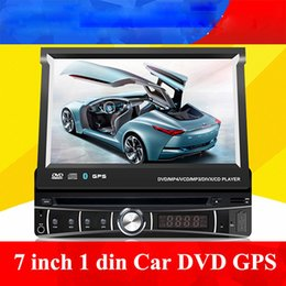 Wholesale Single Din Inch - universal 1 single Din 7 inch Car DVD player with GPS, audio Radio stereo,USB SD,BT,free map,rear view camera,Manually retractable screen