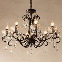 Wholesale Black Iron Crystal Chandelier - crystal chandelier candle holder led crystal living room dining room restaurant light black rustic bar hotel ceiling lamp glass lamp diy