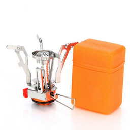 Wholesale Lightweight Stove - Outdoor Picnic Cooking Stove Super Lightweight Folding Camping Gas Stove Mini Pocket Cooking Burner + Box
