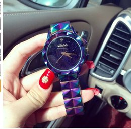 Wholesale Excellent Ladies Watches - Excellent Qulaity Women Watch!Luxury Fashion Crystal Bracelet Watch Female Starry Sky Dress Watch Ladies Colorful Wristwatches