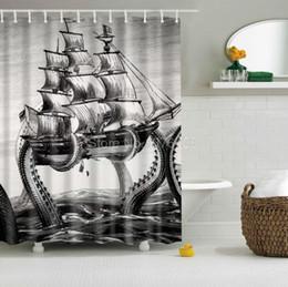rideaux design personnalisé Promotion Gros-Custom Rideau de douche Octopus Kraken Attaque Navire Voile Design Salle De Bains Étanche Polyester Tissu Multi-Taille +12 Crochets