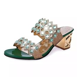 Wholesale Crystal Bond Adhesive - Wholesale-New Summer Sandals Women Peep Toe High Heels Sandals With Crystal Casual Slides Woman Shoes For Lady Sandalias Femininas WSH515