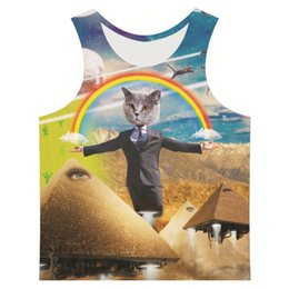 Wholesale Womens Shirt Vests Size Xl - Wholesale- New fashion funny mens womens 3D tank tops print catroon vest sleeveless letter shirts tops plus size 6xl summer gym clothing