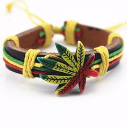Wholesale European Snake Fashion Bracelet - Wholesale Genuine Leather Metal Maple Jamaica Unisex Men's & Lady's Love Fashion For Women Bracelet Bangle lucky leaf men