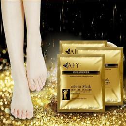 Wholesale Feet Softening - 24K Gold Revitalizing Exfoliating Softening Feet Mask Removes Cuticles Callus Dead Cells Foot Care Tools 2pcs pair CCA6569 1000pair