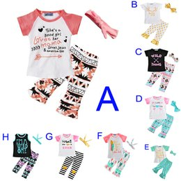 Wholesale Cute Bow Shirts - Girls Clothing Set New 2017 Summer Cute Letter Arrow Feather T Shirt+Polka Dot Stripe Pants+Bow Headband 3pcs Kids Baby Girl Clothes Outfits