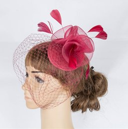 Wholesale Crinoline Hair - Free shipping 11 color crinoline fascinator headwear feather bridal birdcage veils party show hair accessories millinery cocktail hat MYQ063