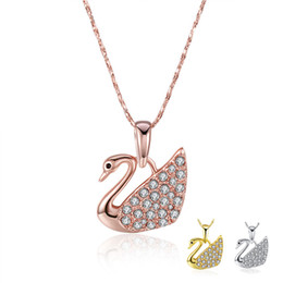 Wholesale Swarovski Jewelry Rose Gold - 5pcs Pendant Necklace 18K Rose Gold Plated Swarovski Style Lobster Clasp 3 Colors For Woman Wholesale Fashion Jewelry N597