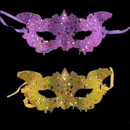 Wholesale Holloween Costumes Women - Masquerade Women Golden Glitter Fox Mask for Party Costume Christmas Holloween Assorted Colors One Size Suitable for Most