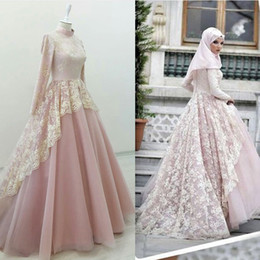 Wholesale Islamic T Shirts - Gorgeous Muslim Evening Dresses High Neck Long Sleeves Lace Tulle Dusty Pink Abaya Kaftan Prom Dresses Islamic Women's Dresses
