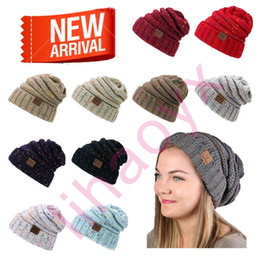 Wholesale Thick Knit Wholesale Beanies - 2017 fashion warm hat simple winter thick man hat woman knitting woman Skullies Beanies 14 color female warm hat TY689