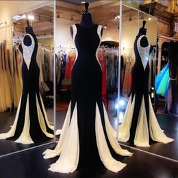 Wholesale Jewel Sparkly Evening Dress - 2017 Sparkly Black Mermaid Prom Dresses Jewel Neck Sleeveless Sequined Long Evening Dresses Chiffon Sweep Train Pageant Celebrity Gowns