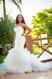 Wholesale Sweetheart Mermaid Chapel Wedding - Plus Size Mermaid African Wedding Dresses 2017 Beaded White Ruffled Tulle Backless Country Style Bridal Gowns