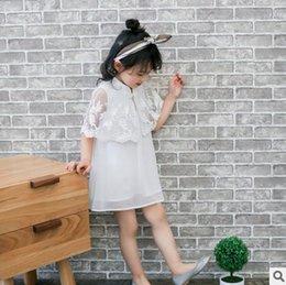 Wholesale Embroidered Cheongsam - Girls dresses 2017 summer new children lace shawl dress girls embroidery cheongsam dress kids princess dress kids clothes T2016