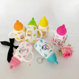 Wholesale Phone Light Charm - Transcend11 Simulation PU Feeding Bottle Cute Dairy Cow Print Squishy Key Chain Cell Phone Accessories Decoration Charm Kids Play Toy (S Siz