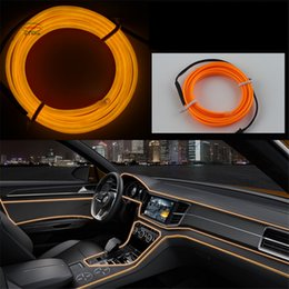 Wholesale Car Strip Line - DIY Decoration 12V Auto Car Interior LED Neon Light EL Wire Rope Tube Line Party Weeding Decal 10 Colors 2M