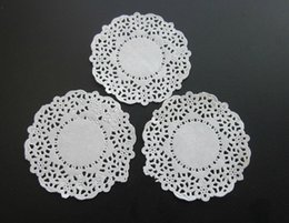Wholesale Paper Lace Doilies - 3.5 inch White lace paper Doily Round Restaurant Table Dish Place Mat Cake Food Paper Pad Doilies Party Decoration