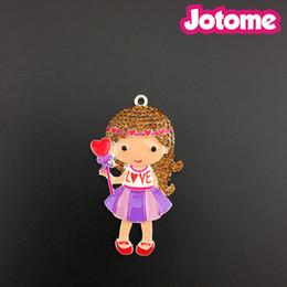 Wholesale Wholesale Chunky Little Girl Necklaces - I Love you Little GIRL Rhinestone Pendant, purple Dress I Heart U Valentine's Day Chunky Necklace Pendant