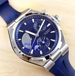 Wholesale Cheap Mens Watches Brands - Super Clone Overseas Dual Time Blue Dial Power Reserve 47450 Automatic Mens Watch P47450 000A-9039 Rubber Strap Brand Cheap Gents Watches