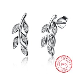 Wholesale Silver Plated Olive Branch - 100% Real 925 Sterling Silver Olive Branches Leaves Stud Earrings with AAA Zircon Women Fine Jewelry Christmas Gifts Top Quality Jewelry