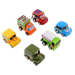 Wholesale Toy Model Pulling Trucks - Wholesale-6pcs Set Truck Vehicle Mini Pull Back Car Model Racer Remote Control Car Toys Road Toy For Children