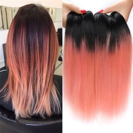 Ouro 22 extensões de cabelo on-line-3 Pcs 1B Rose Gold Peruano Ombre Cabelo Liso Dois Tons Pacotes Tecer Cabelo Humano New Pink Gold Ombre Hair Extensions