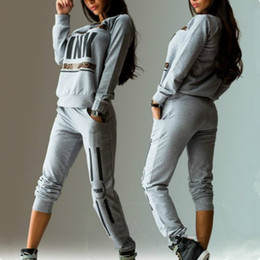 Wholesale Cropped Long Sleeves Top - 2017 New Fashion Women's Sport Suit Letter Pink Print Tracksuit Long-sleeve Casual Sport Costumes Mujer Crop Top And Pants Set