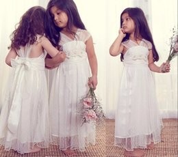 Wholesale Gown Designs For Kids - 2017 Ivory Flower Girl Dresses for Weddings Unique Design Tulle V-neck Cap Sleeves Kids Party Wear Girls Pageant Birthday Gowns