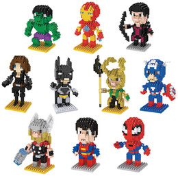 Wholesale Cartoon Super Heroes - 10pcs lot Mini Qute LNO 75mm box Marvel avenger super hero batman nano 3d plastic puzzle cartoon movie model children gift toy
