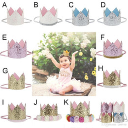 Wholesale baby birthday crowns - Baby Girls Birthday Party Headbands Crown Band Princess Elastic Headwear Children Adult Glitter Photography Props Hair Accessories KHA478