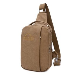 Wholesale Wholesale Backpacks China - Fashionable Small Canvas Daypack Casual Outdoor Travel Male Chest Bag Single Shoulder Crossbody Unbalance Sling Backpack For Men China Whole