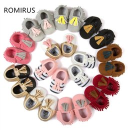 Wholesale Girls Patching Dress - Wholesale- ROMIRUS New patch pattern PU Leather Newborn Infant Toddler Kid First Walkers Bow Baby Moccasins Soft sole girls dress Shoes
