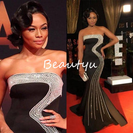 Wholesale Strapless Luxurious Satin - Luxurious Silver Crystal Major Beading Mermaid Evening Dresses Wear Long Strapless Black Satin Party Prom Formal Gowns For Women 2017