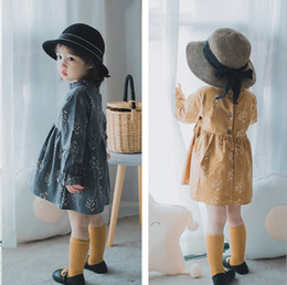Wholesale Korean Cute Dress Lines - New Girls Princess Dress Autumn Floral Printed Cotton Kids Ruffle Dresses Korean Cute Flower Children Causal Dress C2373