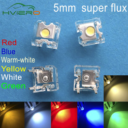 Wholesale Led Piranha Super Flux - Wholesale- 500pcs LED 5mm White Red Green Blue Yellow Warm-white Dome Super Flux water Clear Piranha LEDs Car lamps Light Fashion Hole Smd
