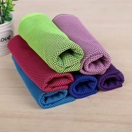 Lenço frio on-line-New Design Cara Legal Toalha de refrigeração Toalhas rápida Sports secos Outdoor Ice Cold Scaft Lenços Pad toalhinha para fitness Yoga Home Textiles