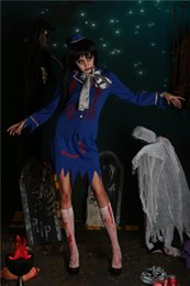 Wholesale Stewardess Halloween Costumes - Halloween Halloween horror and bloody flight attendant costume of a female zombie costume club cosplay stewardess outfit