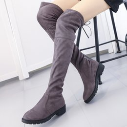 Wholesale Korean Over Knee Boots - Wholesale- South korean style autumn luxurious over knee high boots nubuck round toe warm riding women boots ladies shoes c333