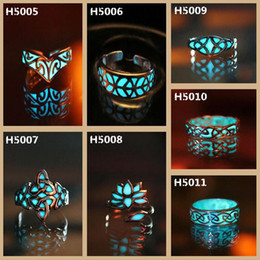 Wholesale Big Adjustable Rings - Europe and the United States big luxury retro Carved luminous ring Maya mysterious geometry adjustable adjustable light ring