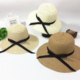 Wholesale Christmas Girdles - Female sombreros women summer hat classic black girdle Panama sunhats Jazz Hat beach hats for women chapeau de paille femme