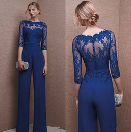 Wholesale Green Evening Jumpsuit - Royal Blue 2017 Plus Size Mother Of Bride Pant Suit 3 4 Lace Sleeve Mother Jumpsuit Chiffon Cocktail Party Evening Dresses Custom Made