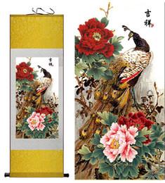 Картины павлина онлайн-павлин шелк живопись китайский традиционный шелк искусство живопись цветок картины гостиная искусство печатных стены искусства прокрутки повесить картину