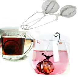 Wholesale Steel Mesh Tea Ball - new with handle Creative Stainless Steel Spoon Tea Mesh Ball Infuser Strainers Teakettles kitchen tools 37H