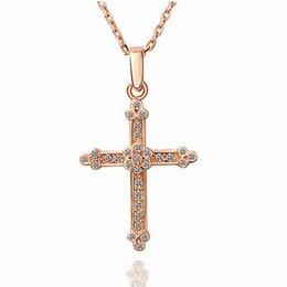 Wholesale Gold Filled Clear - 18K Rose Gold Plated Clear Crystal Full Paved Cross Crucifix Chain Pendant Necklace for Women Fashion Party Costume Jewelry Gift