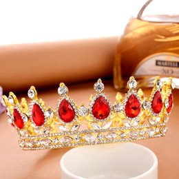 Wholesale Wedding Crown Color - 2017 new Hot European royal wedding bride drops of tire crown king queen rhinestone jewelry design headdress head gold color